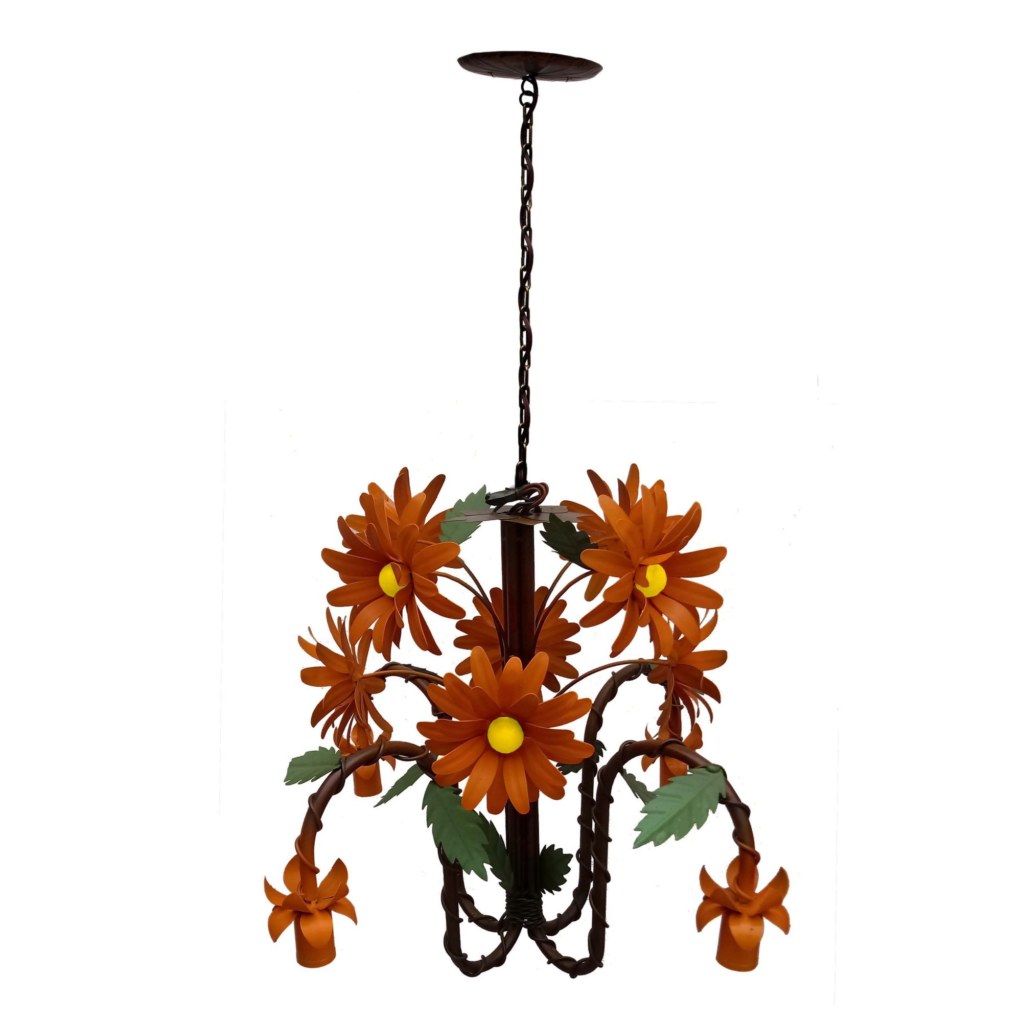 Lustre Moderno de Flores Artesanal com Bocal para Baixo Iluminação Sala Grande