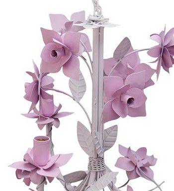 Lustre para Quarto Infantil Menina Artesanal com 03 Lâmpadas de Rosas
