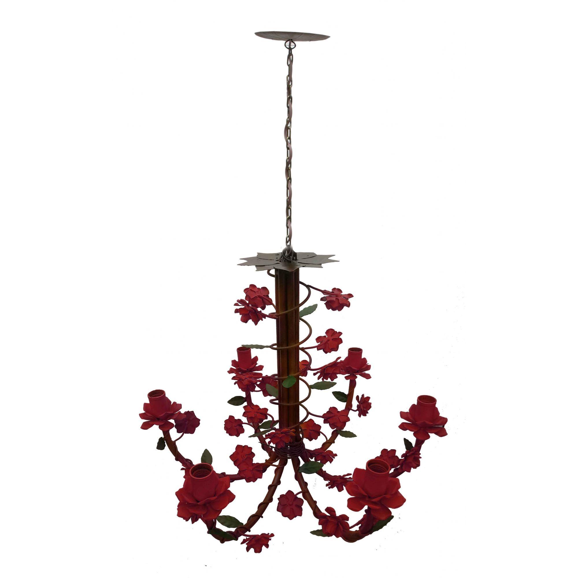 Lustre para Sala Colonial Artesanato Mineiro Pendente de Flores Melhor Preço