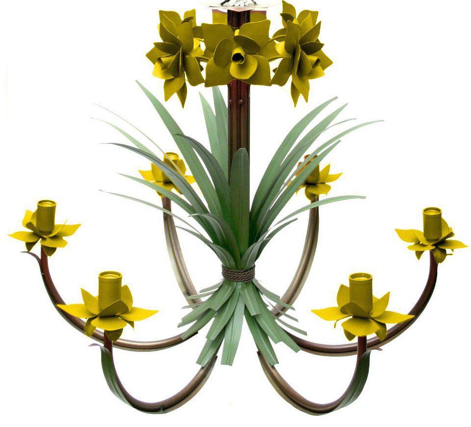 Lustre para Sala de Jantar com Flores Folhas Rústico para 06 lâmpadas