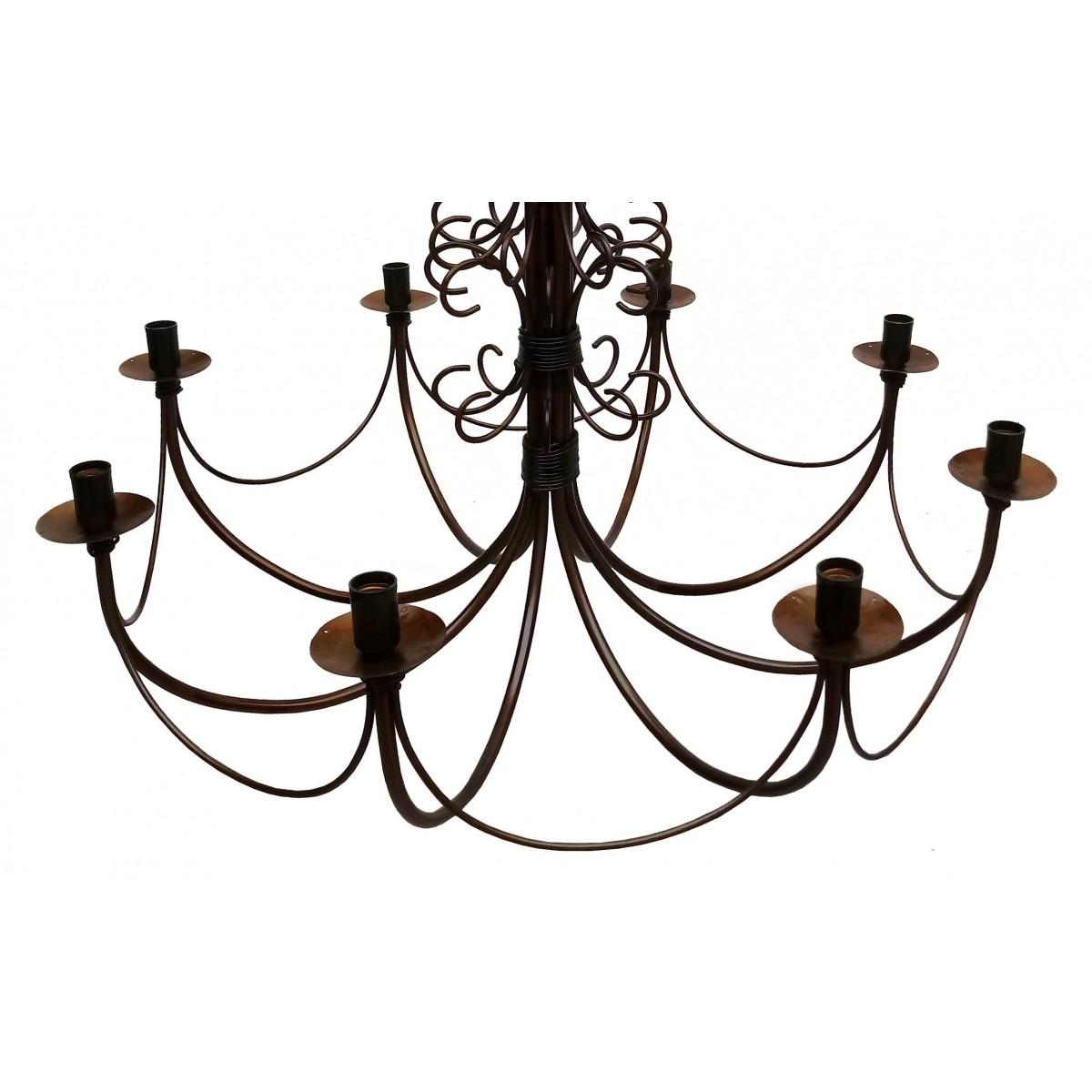 Lustre Para Sala de Jantar Rustico Envelhecido Artesanal de Ferro Grande