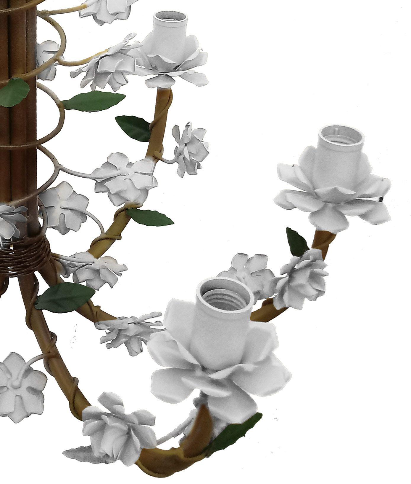 Lustre para Sala de Visitas Decoração Rustica com Flores de ferro Coloridas