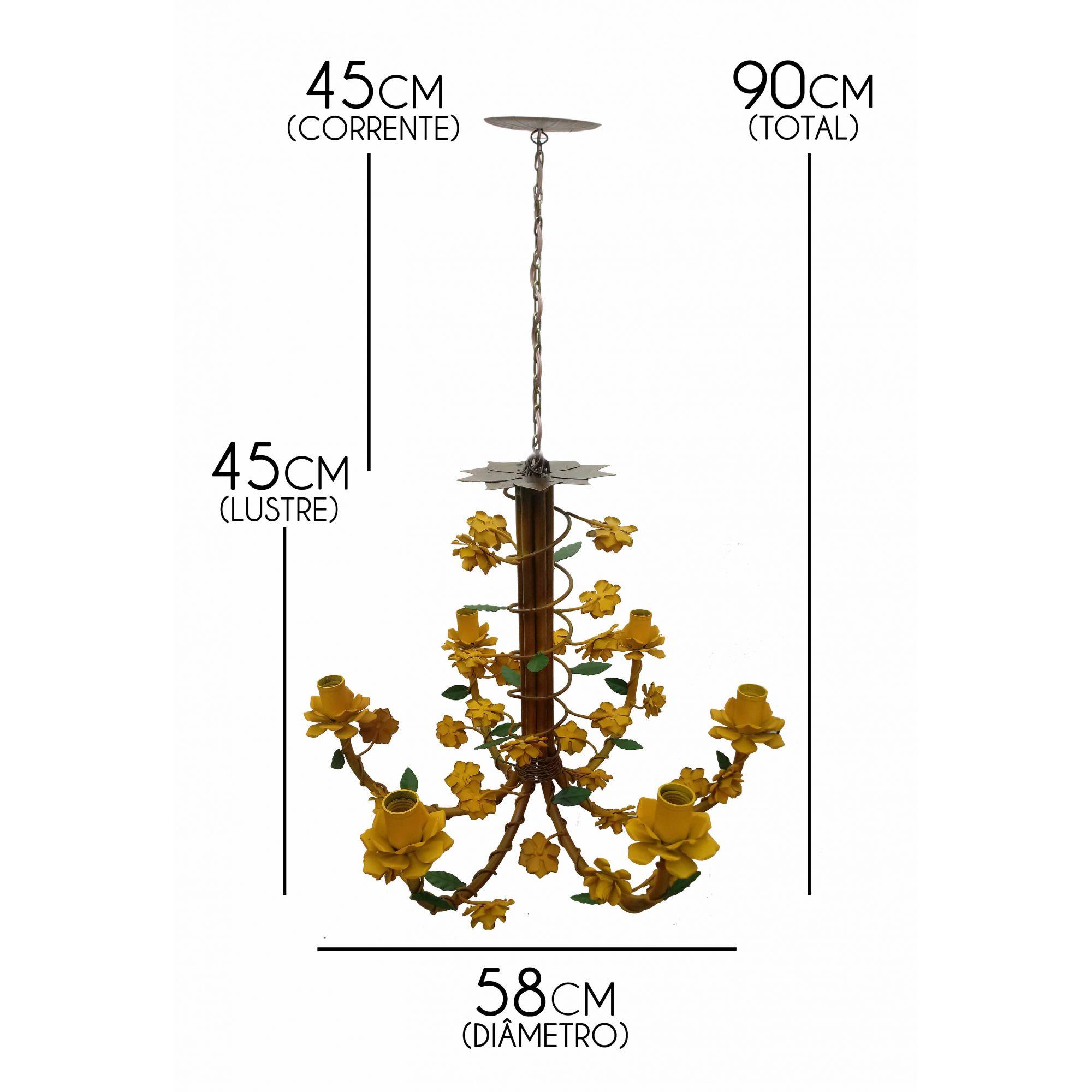 Lustre para Sala Decoração com Flores de Ferro Artesanal Varias Cores