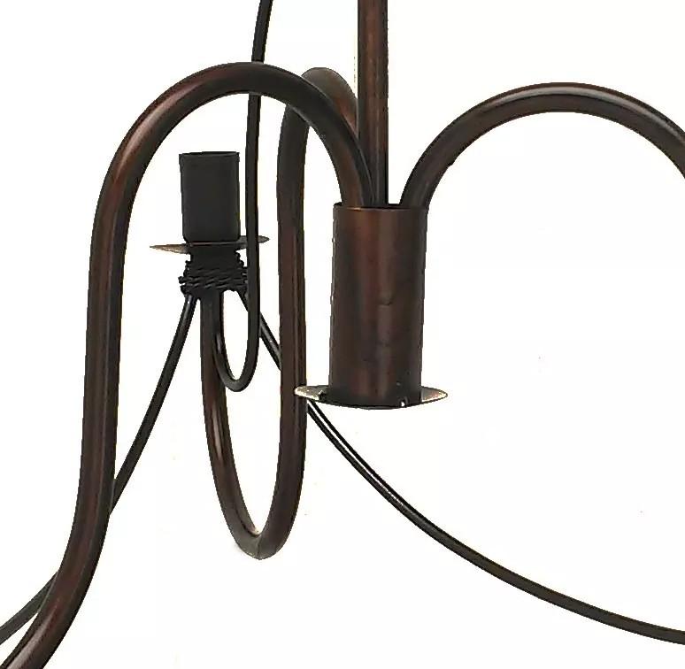 Lustre para Sala de Estar Artesanal de Ferro Rustico 3 Bocais Cecília