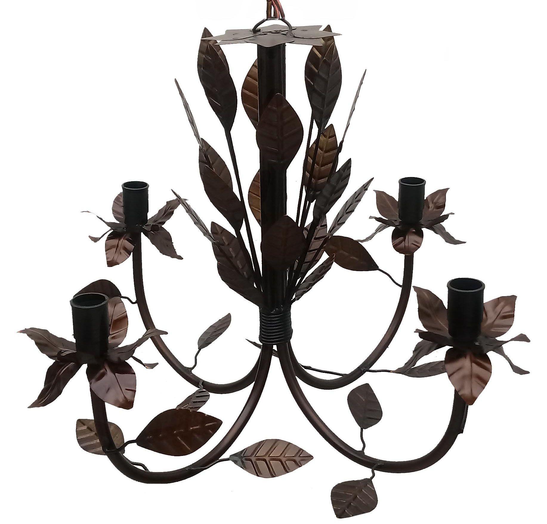 Lustre Pendente de Teto com Folhas em Ferro para Iluminação de Sala