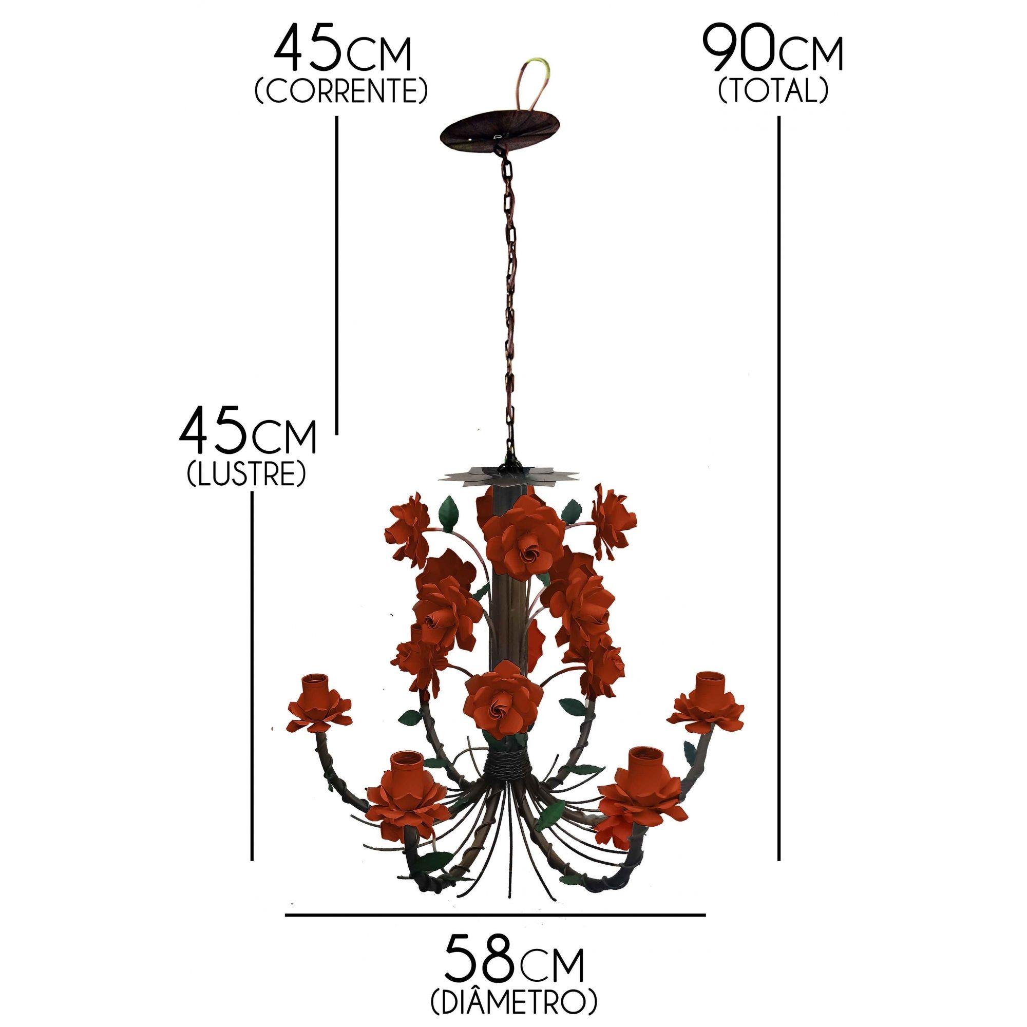 Lustre Preço de Fábrica em Ferro Rustico Flores para Cozinha e Varanda