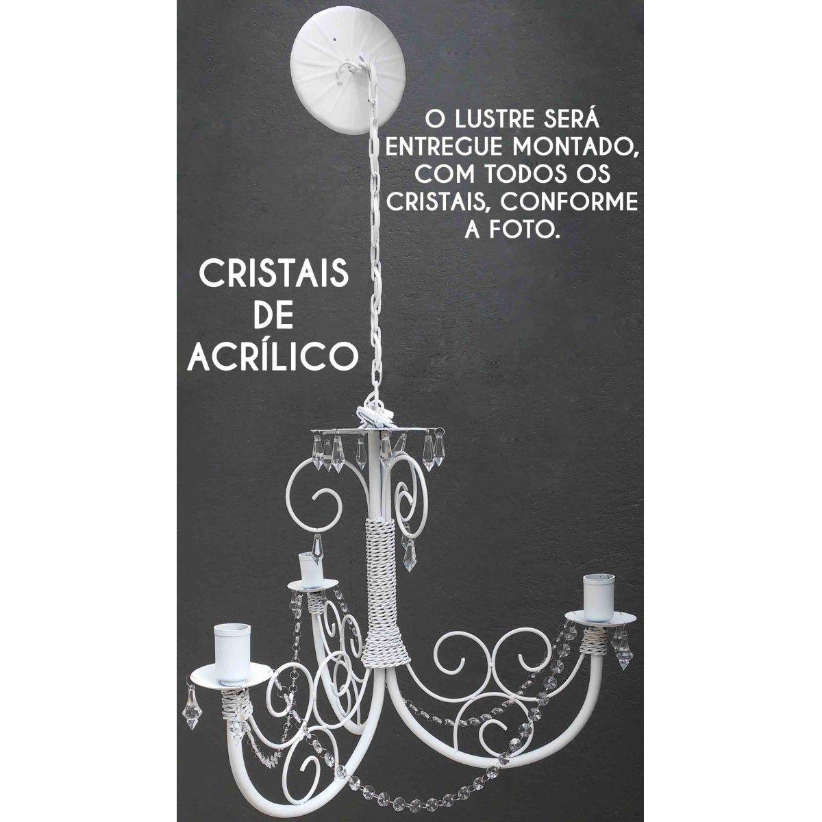 Lustre Provençal com Cristal Candelabro Artesanal Rustico de Ferro
