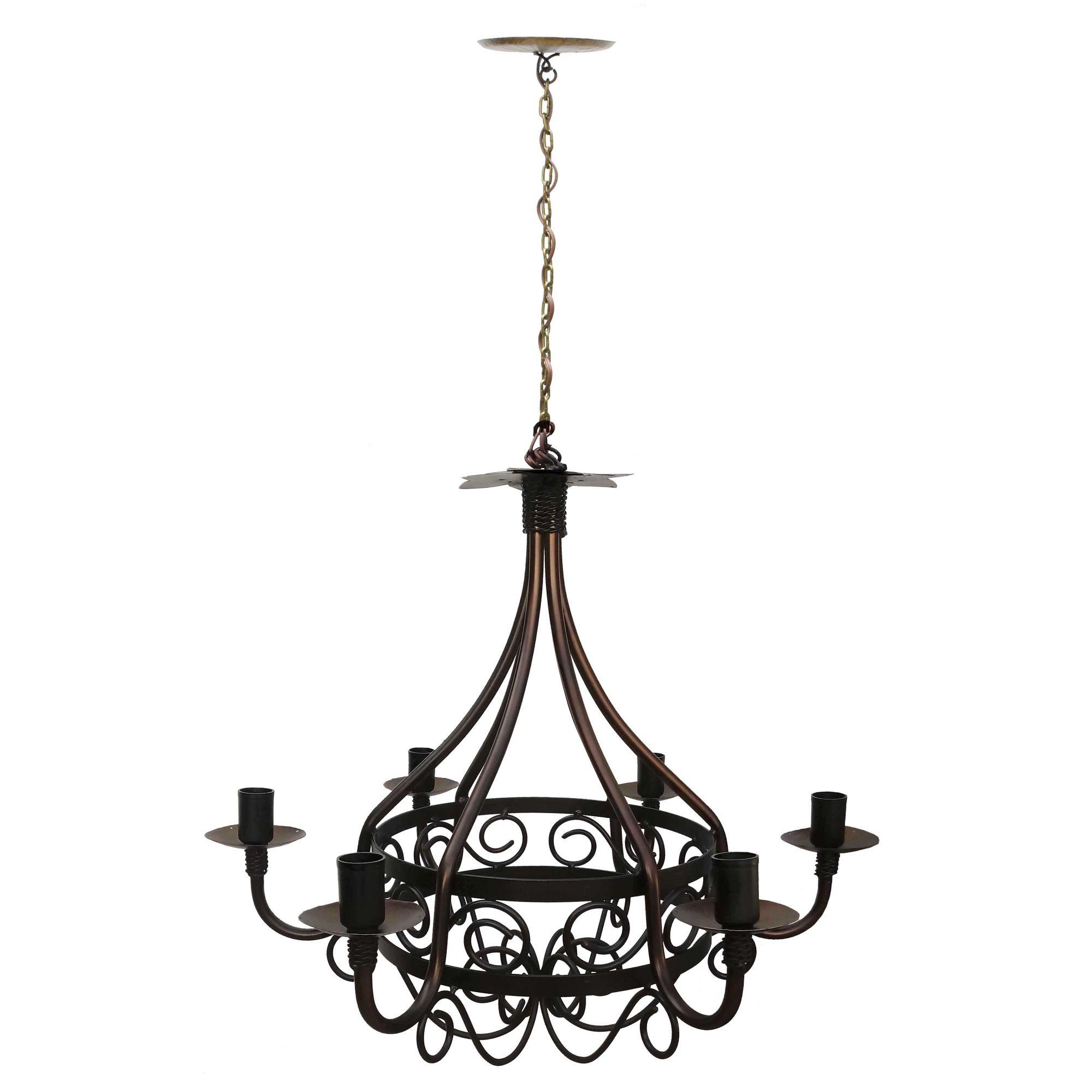 Lustre Retrô de Ferro Envelhecido para Iluminação Interna Colonial