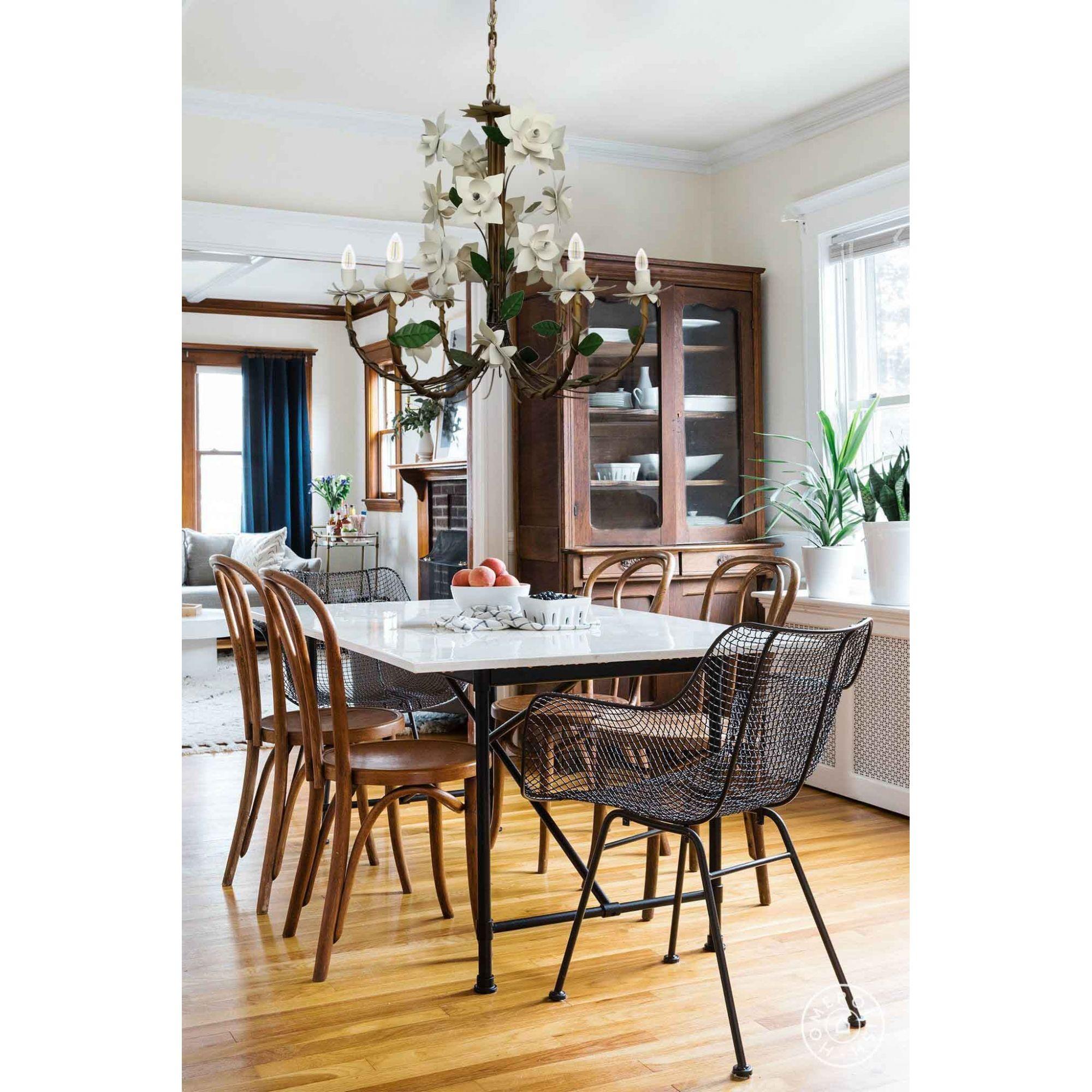 Lustre Rústico Artesanal Sala de Jantar Moderna com Flores 06 Lâmpadas