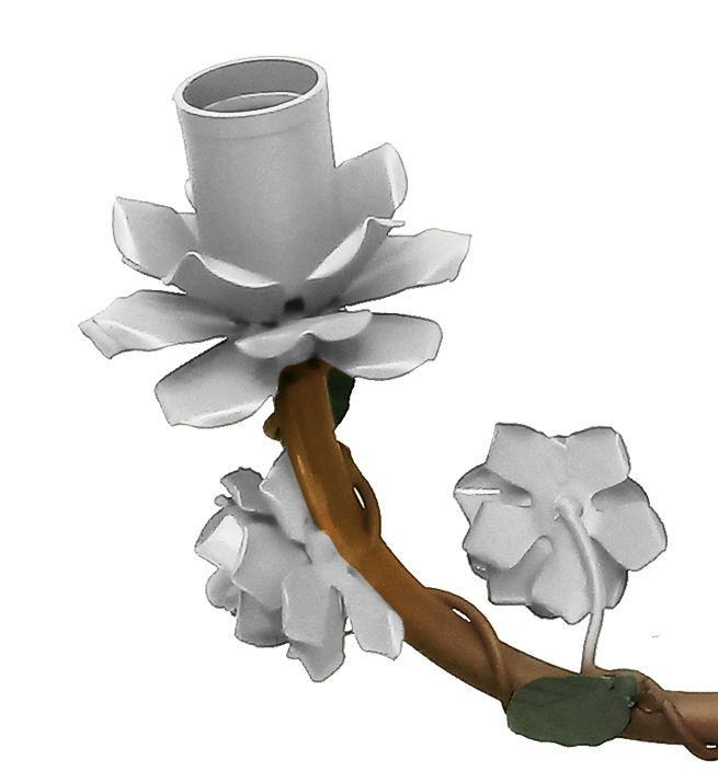 Lustre Rustico com Flores de Ferro Cozinha e Area Gourmet de Apartamento