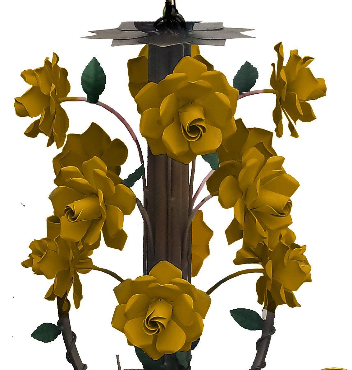 Lustre Rustico em Ferro Artesanal com Flores para Area Gourmet