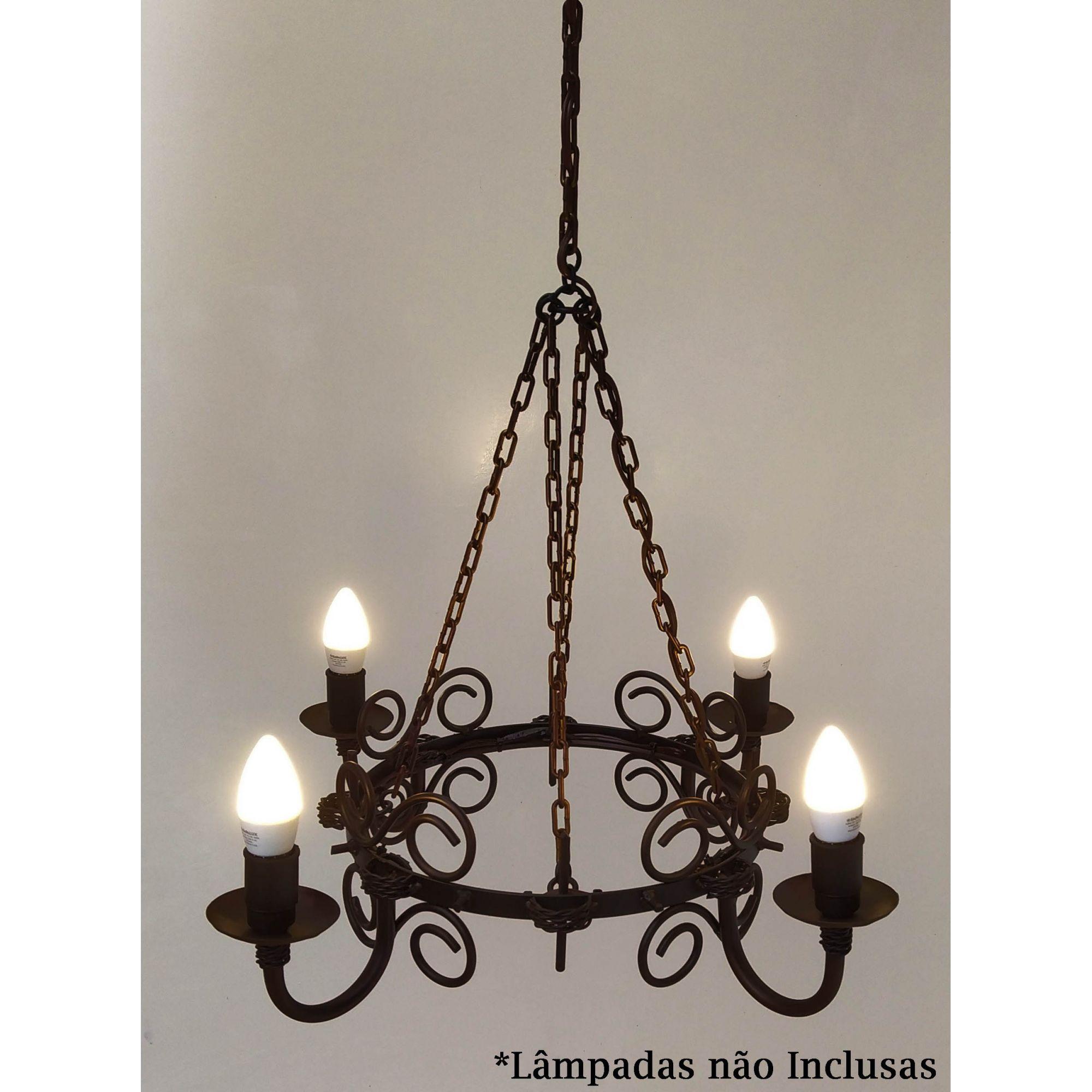 Lustre Rustico Medieval em Ferro para Iluminação de Sala de Estar Retrô