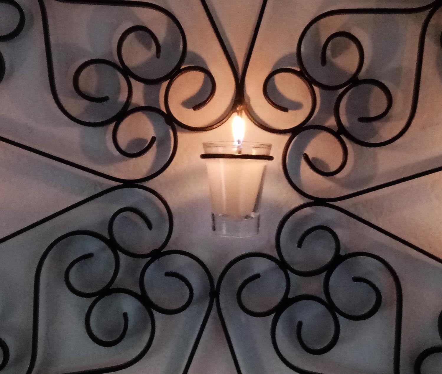 Mandala com Velas Suporte de Parede Rustico Decorativo Sala de Jantar