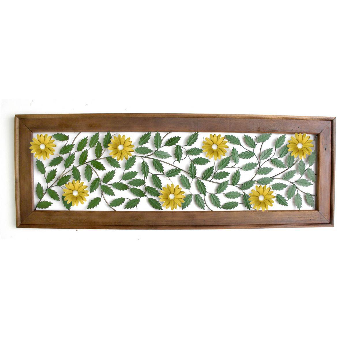 Moldura de 1,80 com Flores Amarelas para Parede Artesanal em Ferro