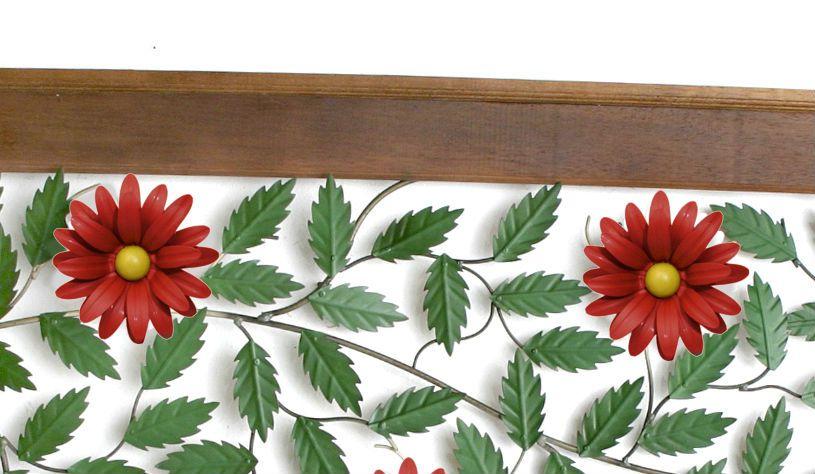 Painel de 1,80m Moderno com Flores Vermelhas Artesanal Minas Gerais