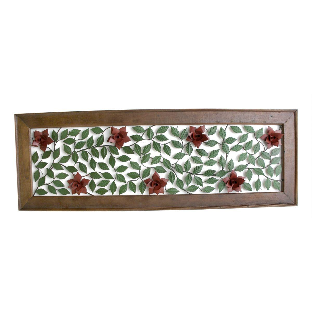 Quadro 1,80 Rosas Vermelhas Artesanais em Ferro Rústico Decorativo