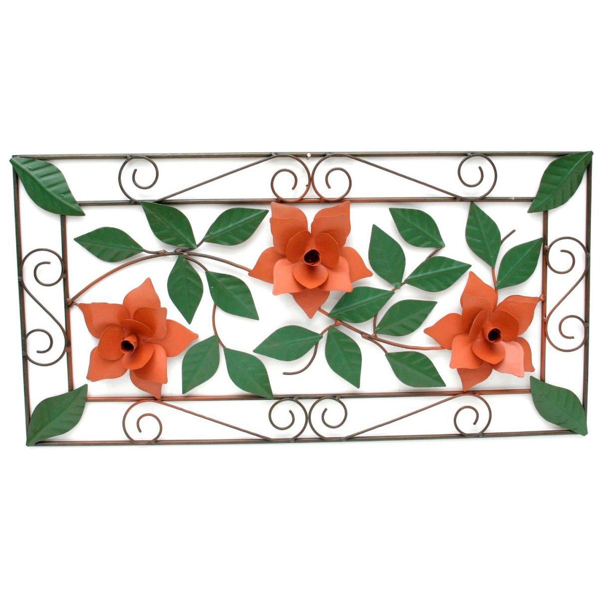Moldura Para Sala Artesanal Rustica de Ferro com 3 Flores Decorativa