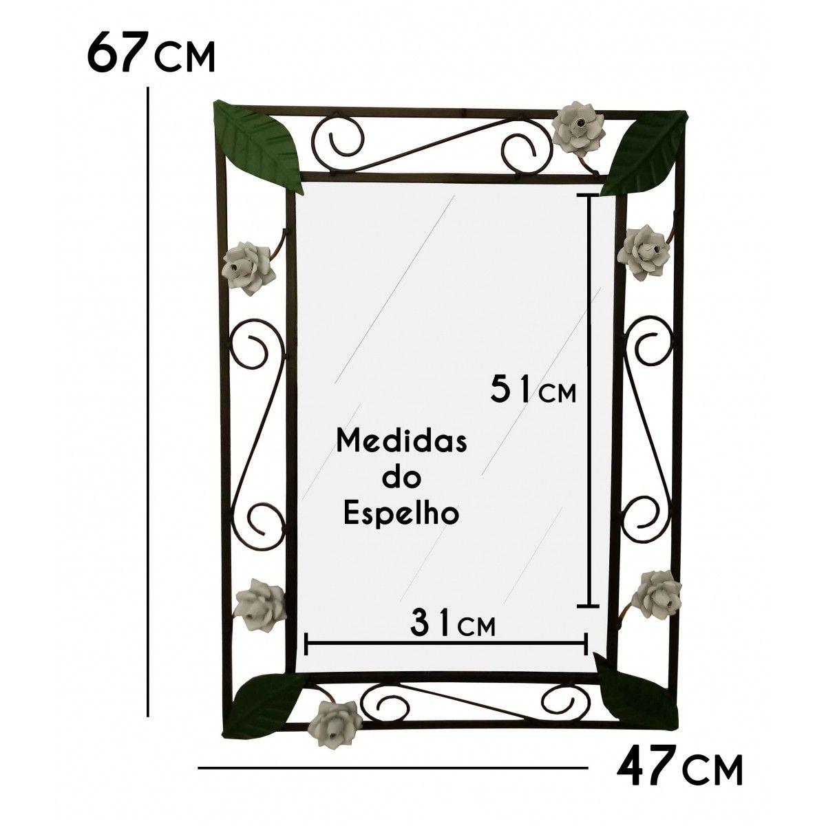 Espelho para Quarto com Moldura de Ferro e Flores Rusticas Decorativo