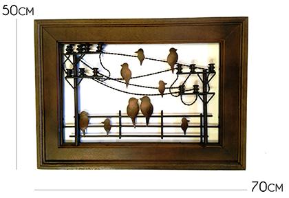 Quadro Artesanal Ferro E Madeira Rústico Sala Pássaros 0,70