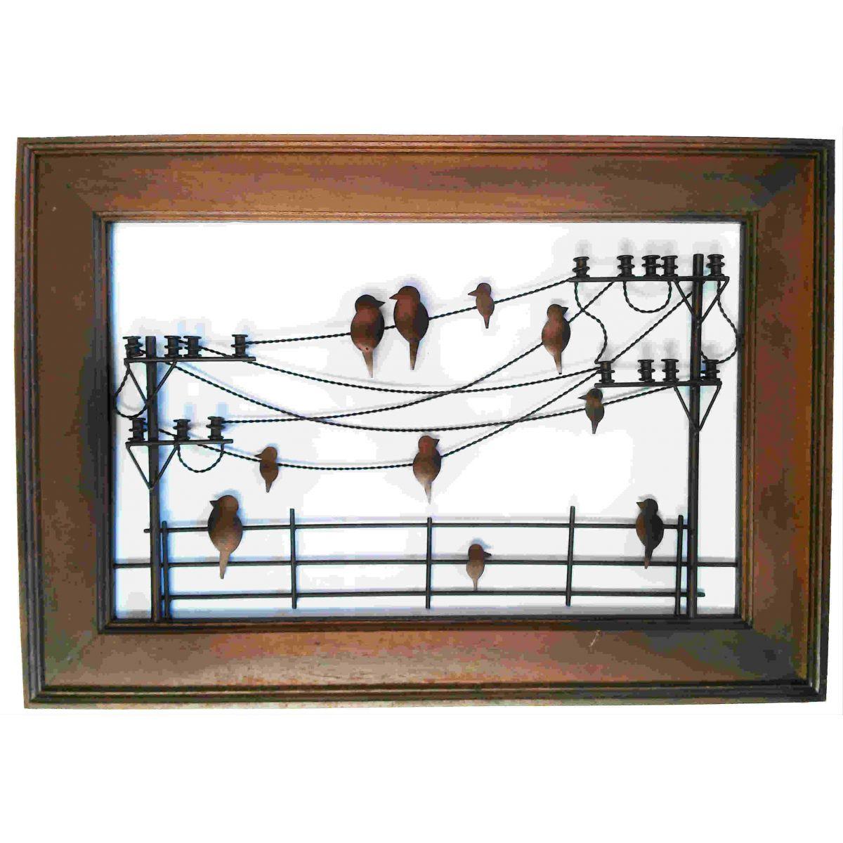 Armario Escritorio ~ Quadro Artesanal Ferro Madeira Rústico Sala Pássaros Parede 1,00 x 0,70 Libertas Rosas Artesanato