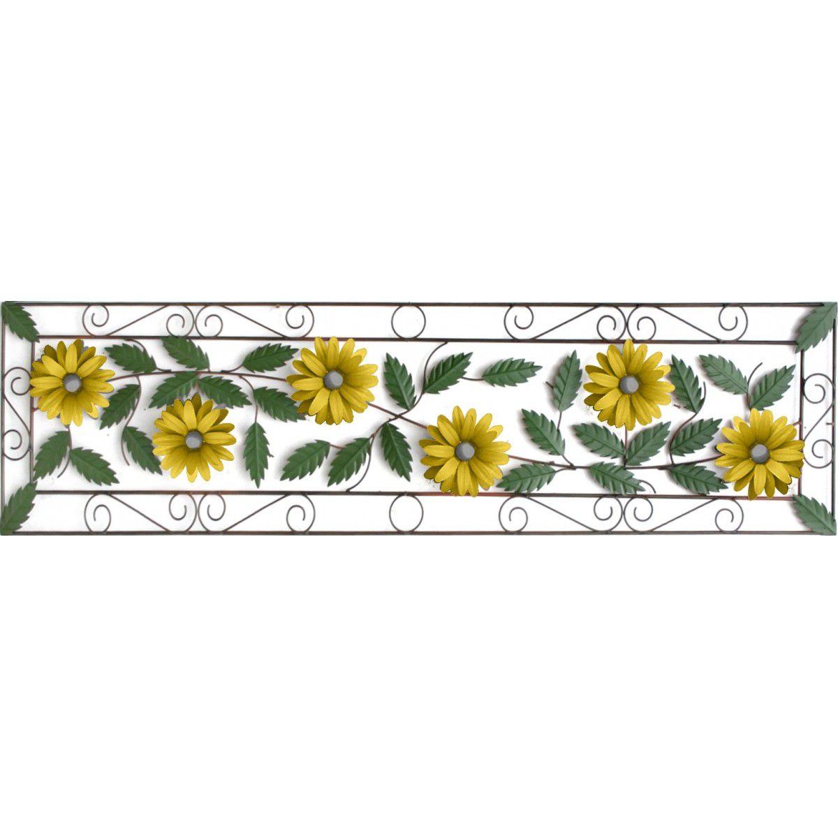 Moldura Decoração Artesanal de Ferro Colonial Rustico para Parede com Flores