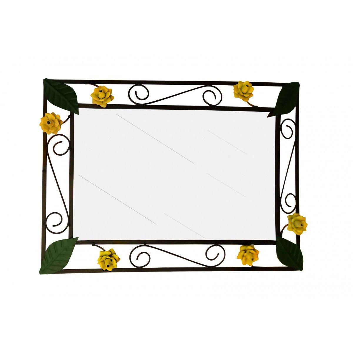 Moldura Espelho Artesanal de Ferro Rustico Decorativa com Flores