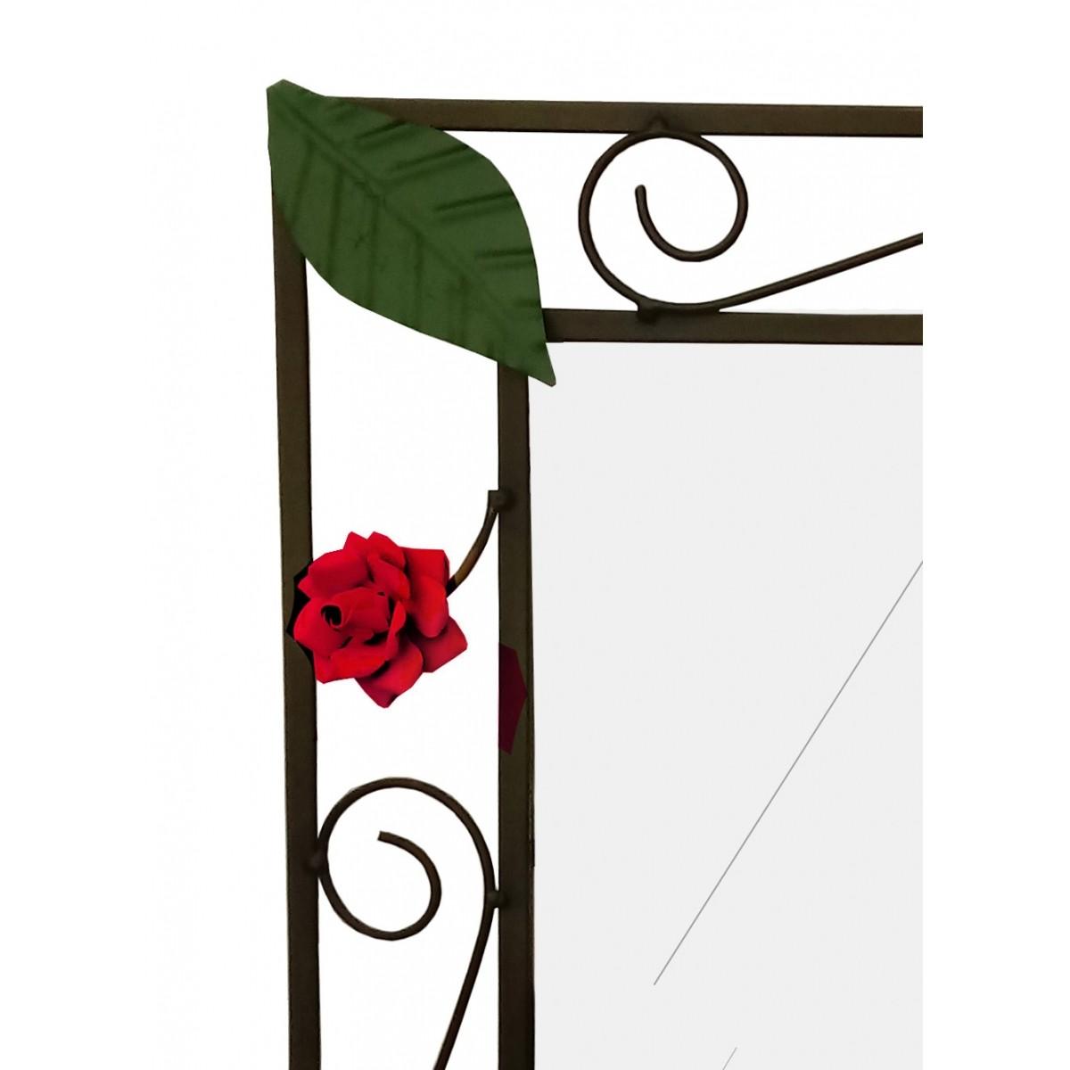 Moldura Espelho Rustica de Ferro de Parede com Flores Artesanais