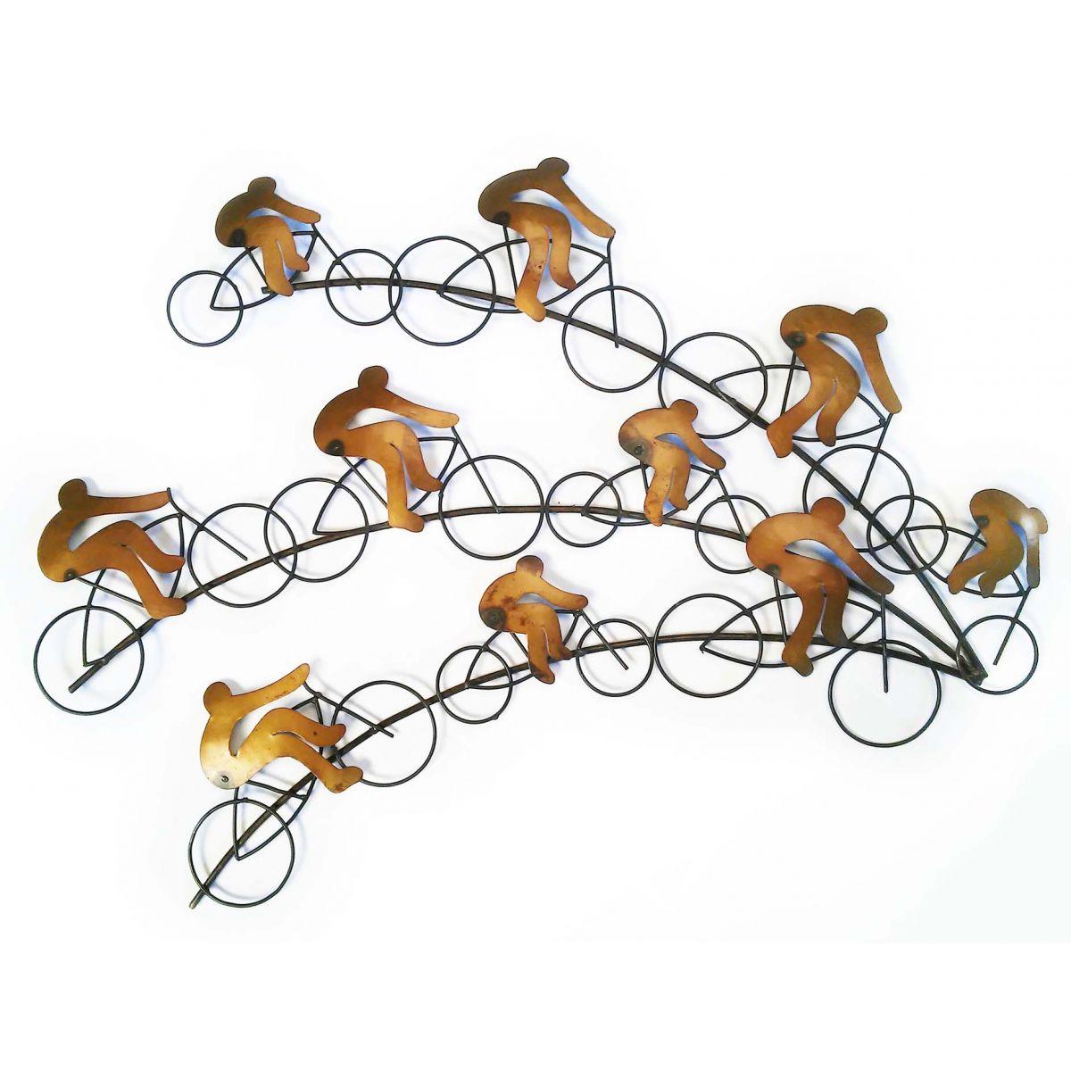 Painel Quadro Moderno em Ferro Artesanal com 03 Raias de Bicicletas Sala , Quarto ou Varanda