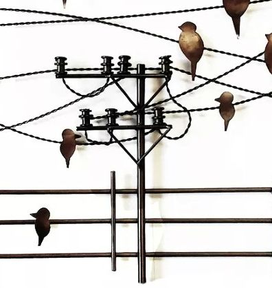 Painel de Parede de Ferro Artesanal Quadro de Pássaros Moderno Sala Varanda