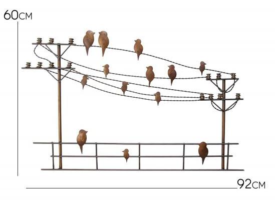 Painel Decorativo para Sala de Jantar de Ferro Rustico Artesanal com Passaros