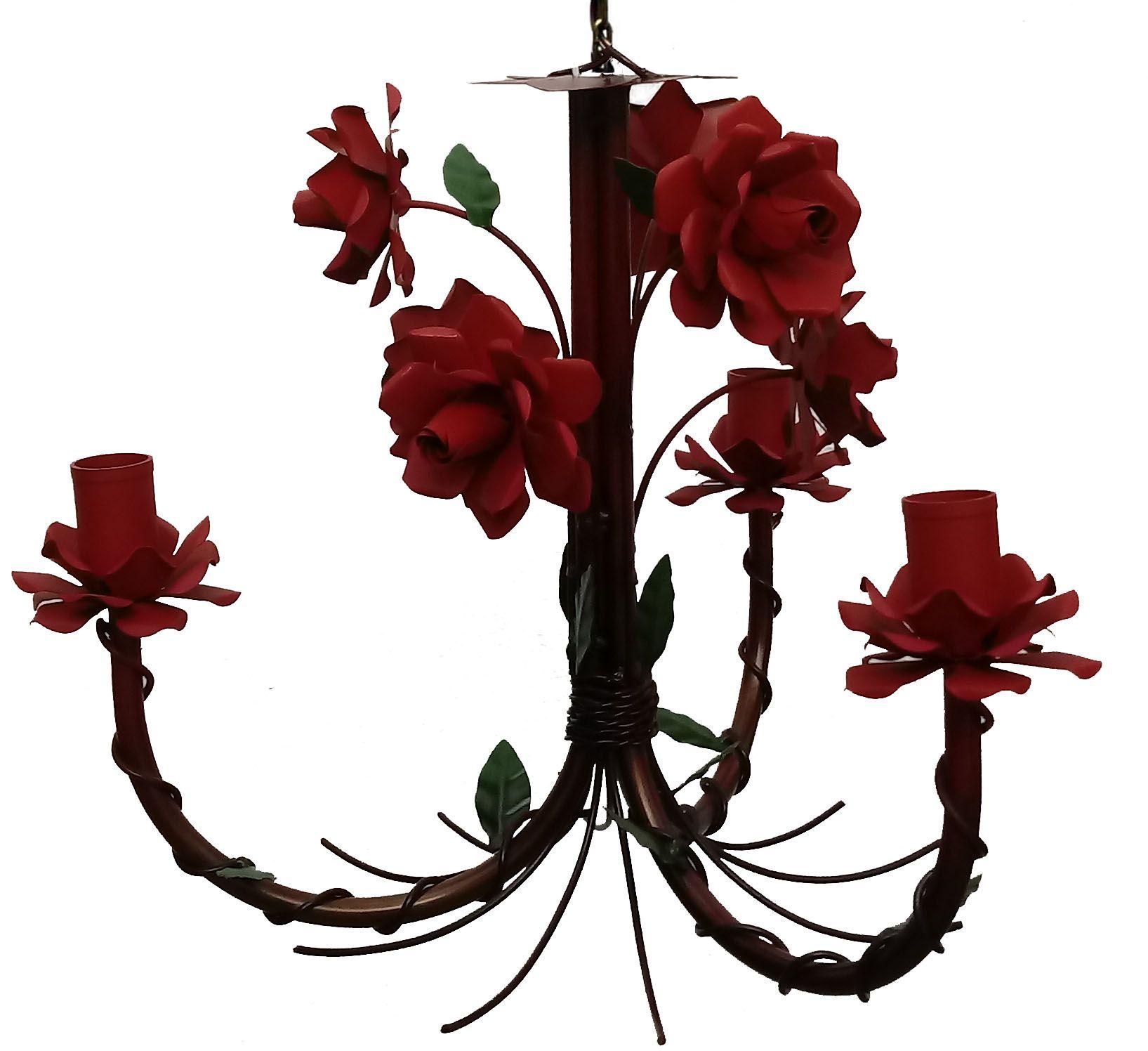 Lustre com Flor Artesanal Rustico em Ferro e Lata Sala e Quarto
