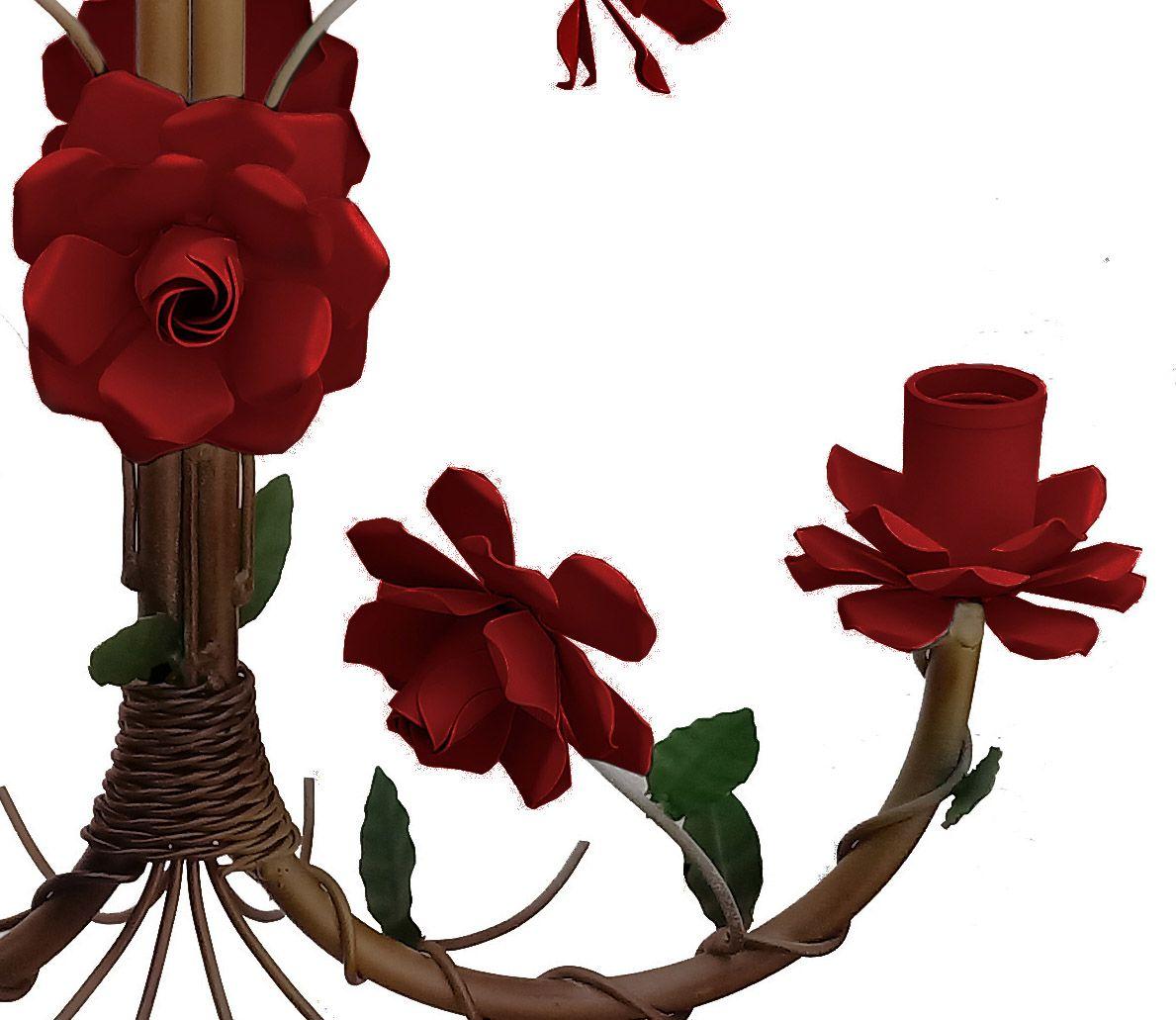 Pendente de Ferro e Flores Artesanal para Salinha de Espera Rustico 02 Bocas