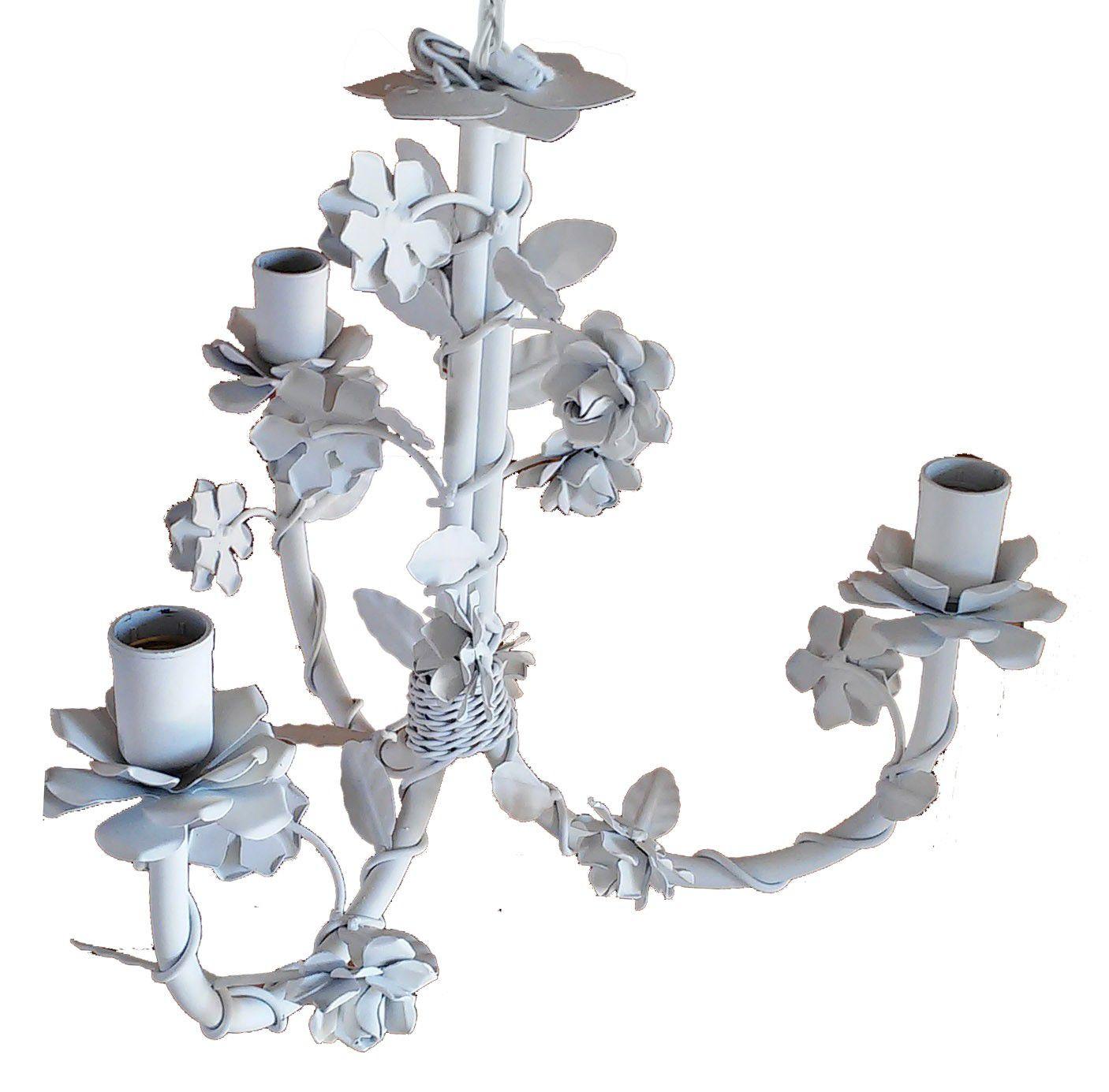 Pendente de Teto Provençal Compacto Área Pequena com Flores em Ferro