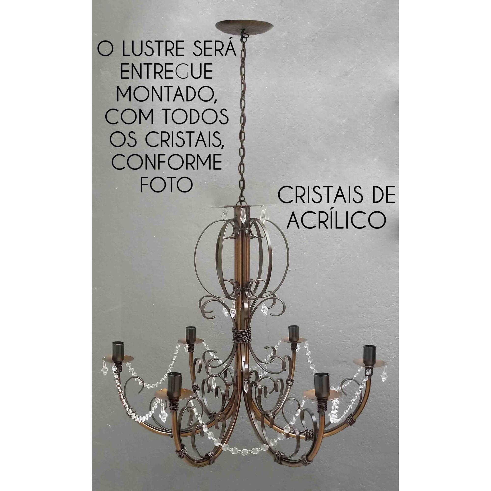 Pendente Decorado com Cristais de Acrilico Iluminação Ambiente Moderno