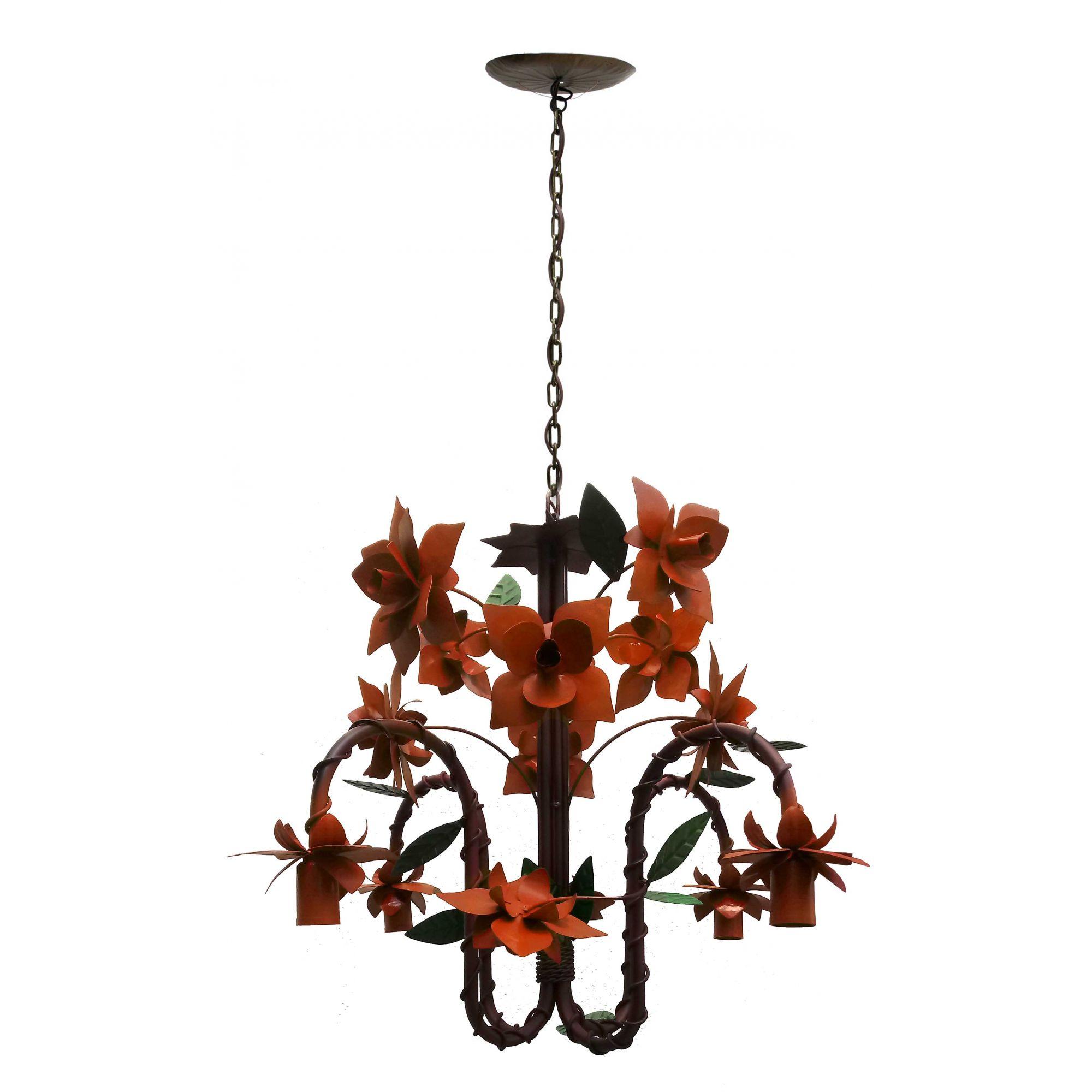 Pendente Decorativo Moderno com Flores para Iluminação de Varanda Bocal pra Baixo