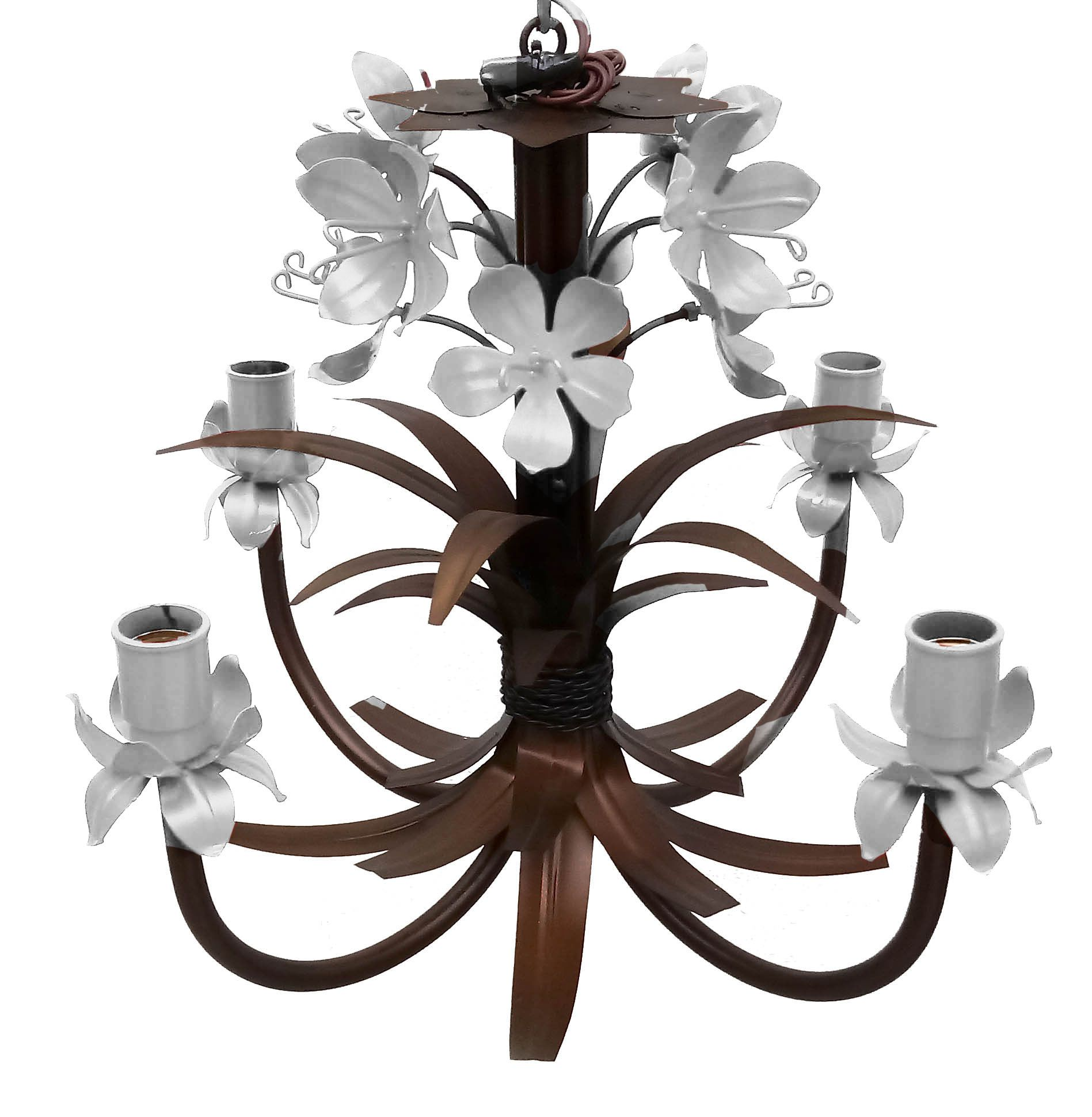 Pendente Luminaria Decorativa com Tulipas de Ferro Iluminação de Quarto
