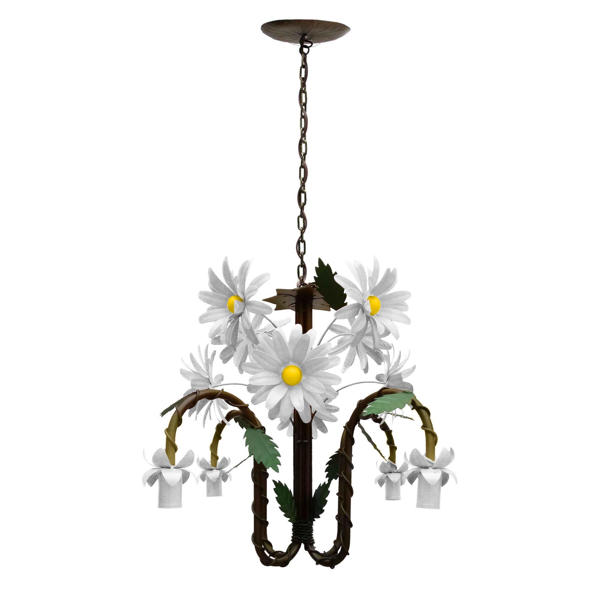 Pendente Luminaria Decorativa de Metal com Flores Artesanais Area Interna