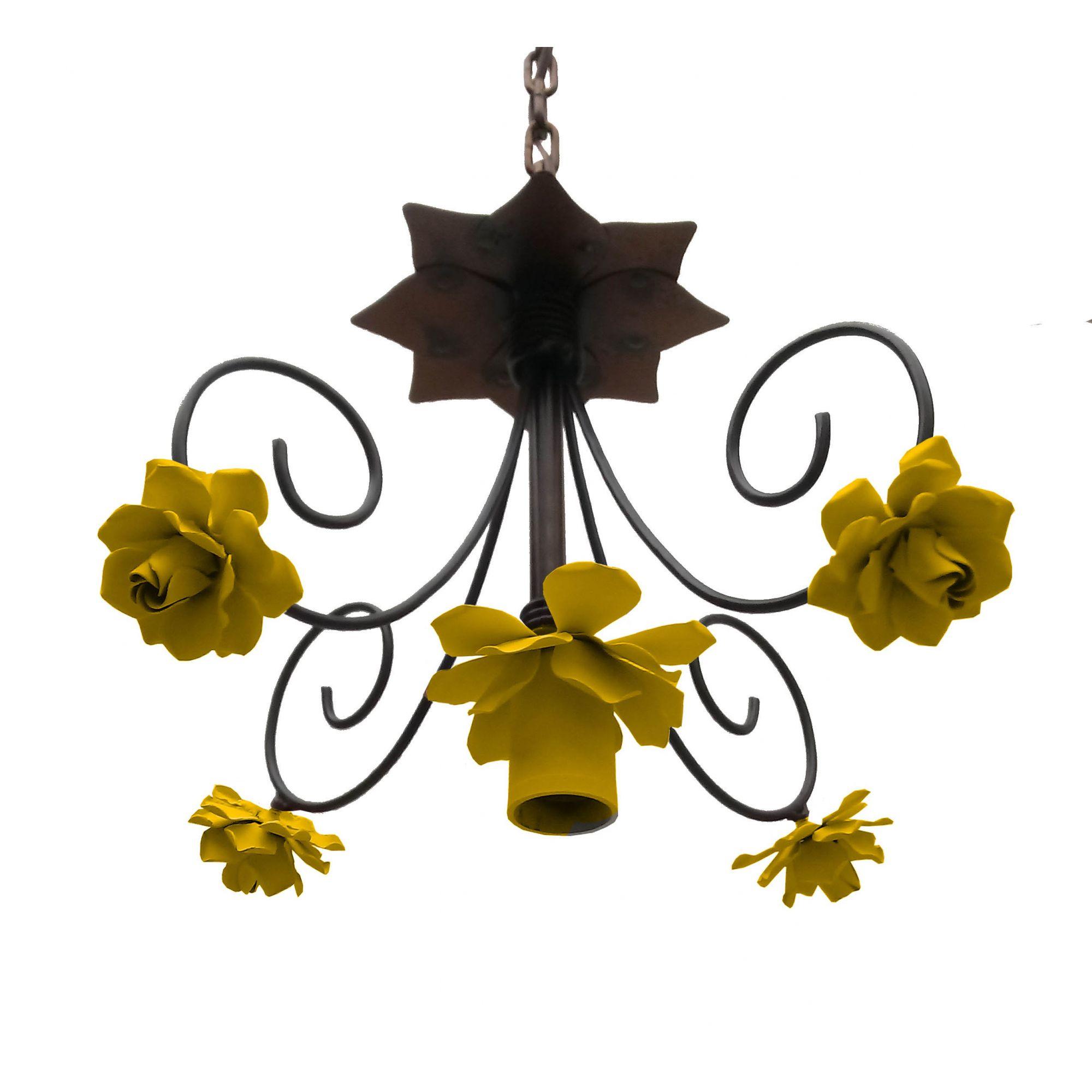 Pendente Moderno de Flores em Ferro Artesanal Para Iluminação de Banheiro