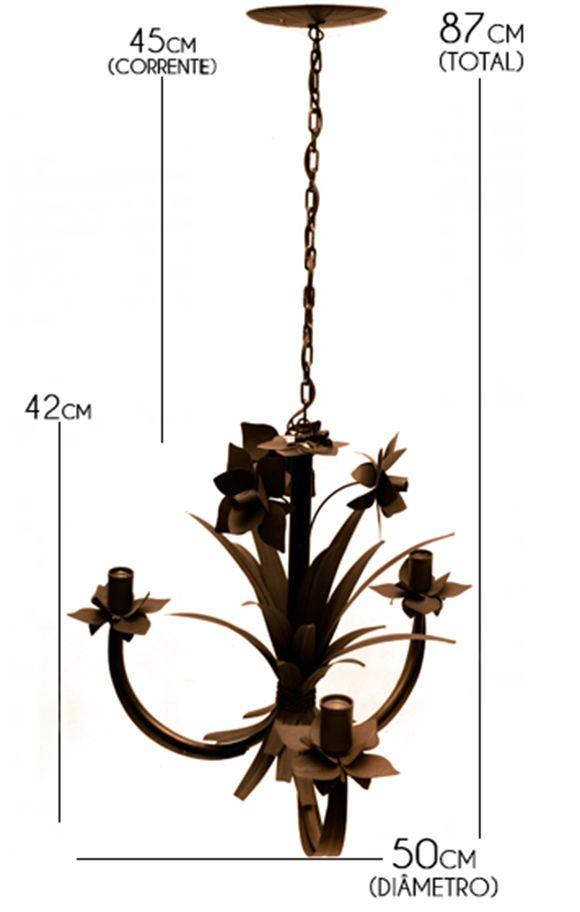 Pendente Rustico Artesanal Para Sala de Jantar Com Flores 03 Lâmpadas