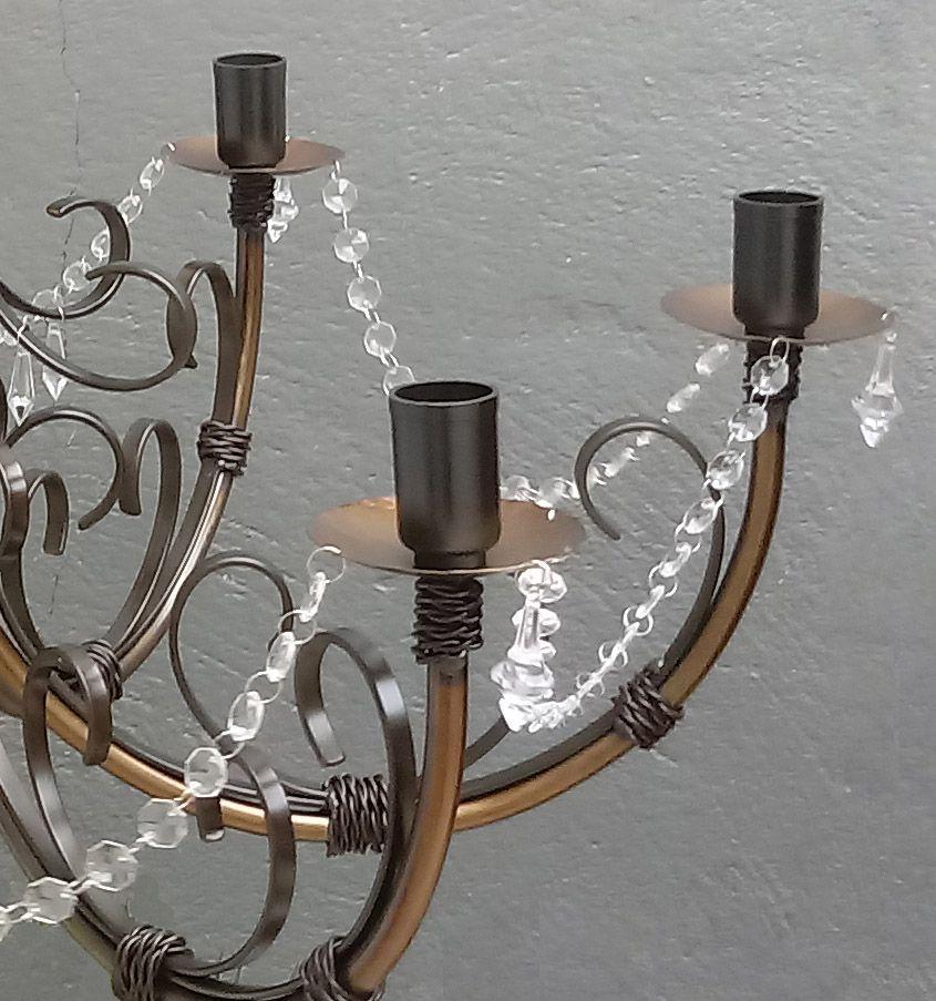 Pendente Rustico De Cristal E Ferro para Decoração de Sala De Jantar