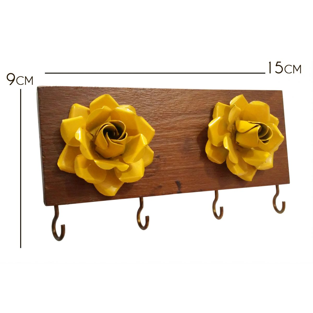Porta Chave de Parede Rustico Artesanal com Flores de Ferro
