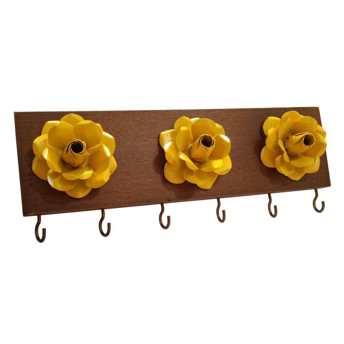 Porta Chave com 03 Flores Rústico Artesanal de Minas