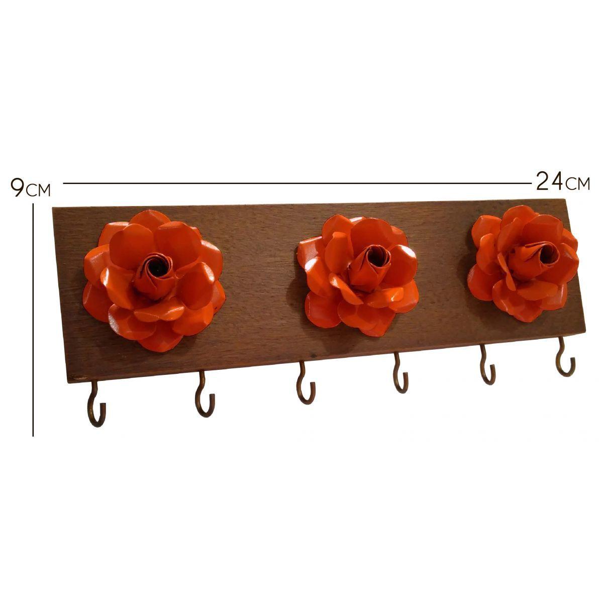 Porta Chaves Artesanal Moderno de Parede com Flores de Ferro