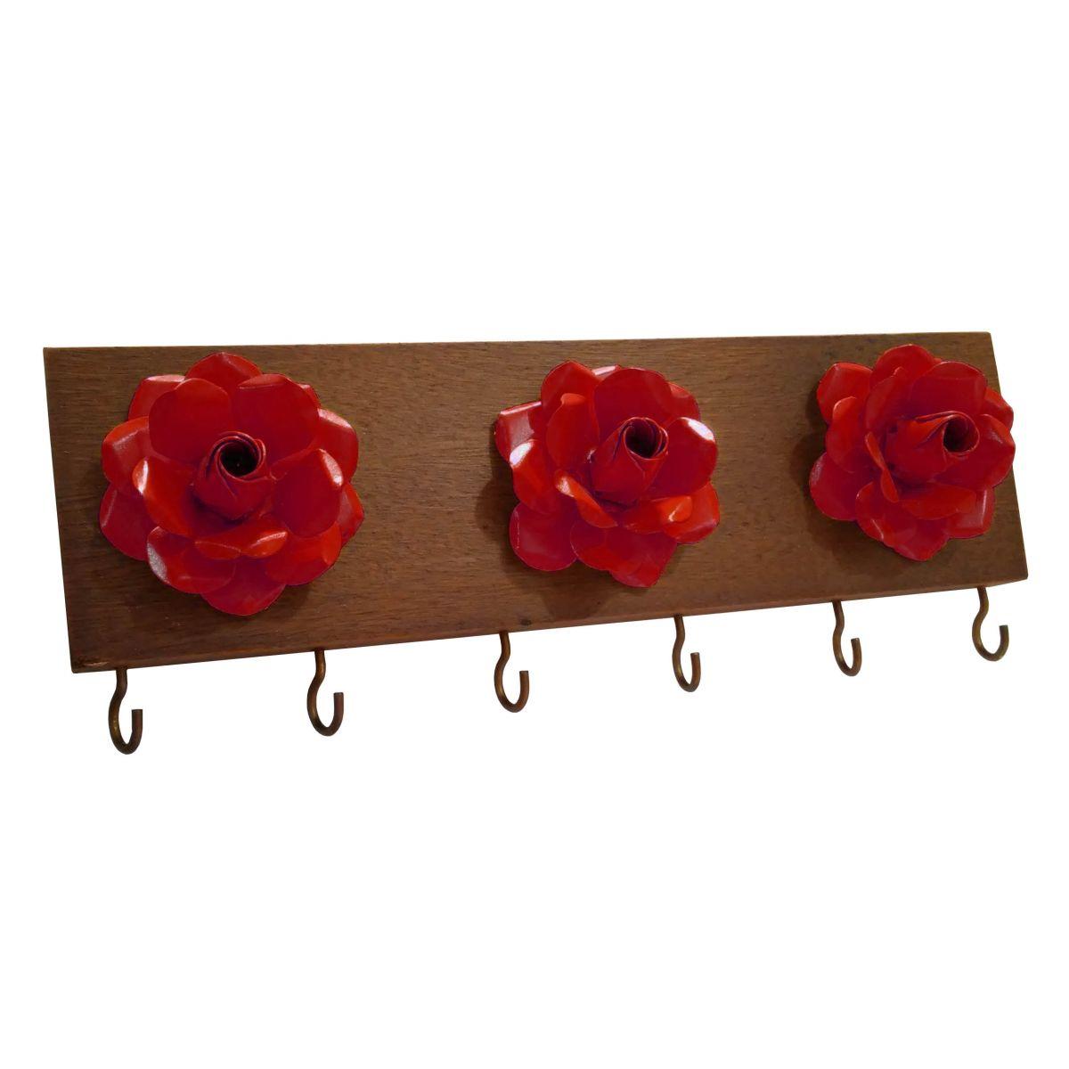 Porta Chave de Ferro e Madeira com Flores Artesanal de Parede