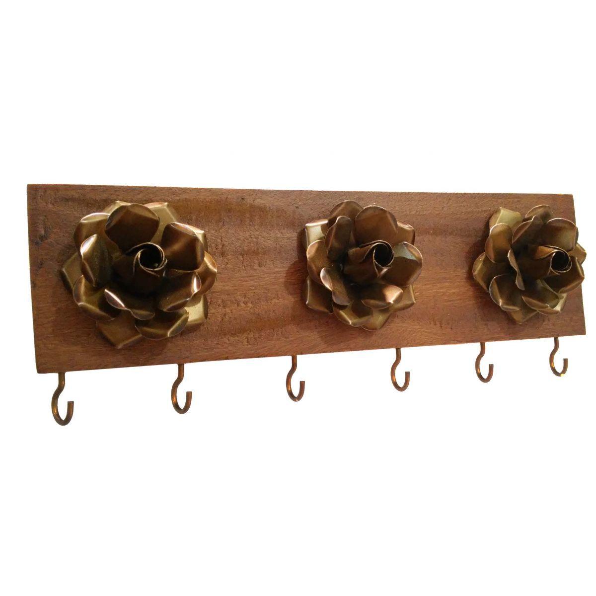 Porta Chaves Criativo em Ferro e Madeira Artesanal Decoração com Flores