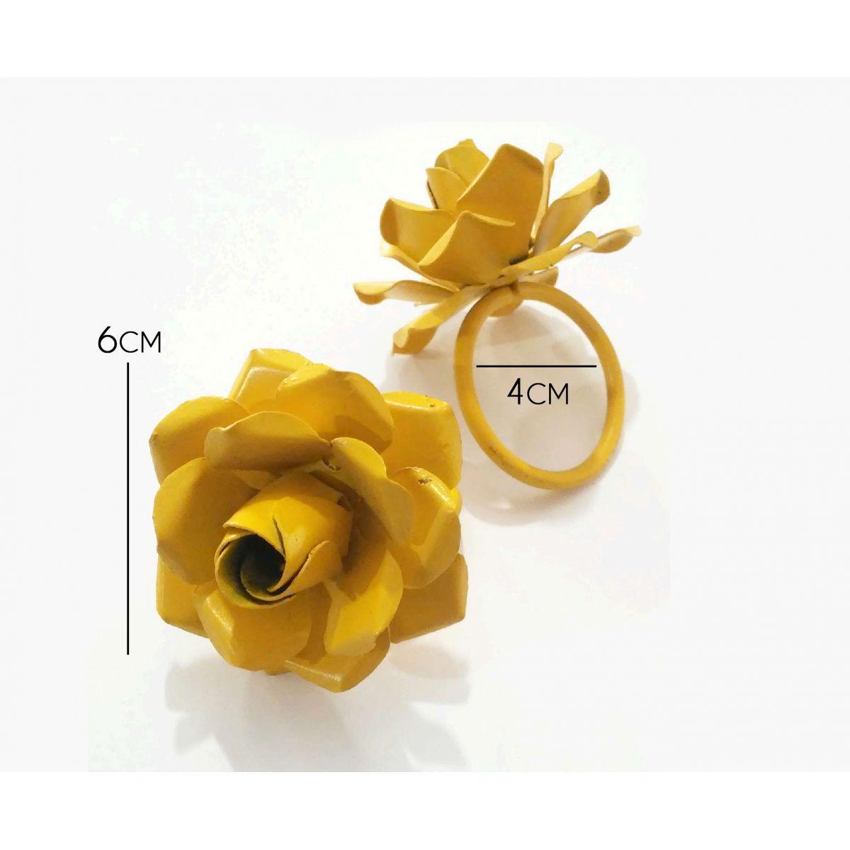Porta Guardanapo Rústico com Flor de Ferro Artesanal Lembrança de Casamento