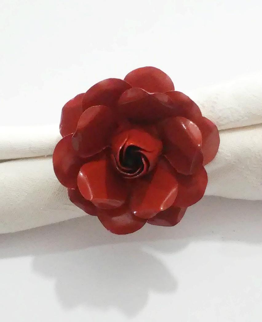 Porta Guardanapo Artesanal Florzinha em Ferro e Lata Rústico para Mesa de Jantar