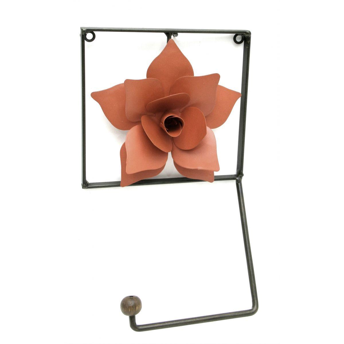 Porta Papel Higienico Artesanal De Ferro Rústico Banheiro com Rosa