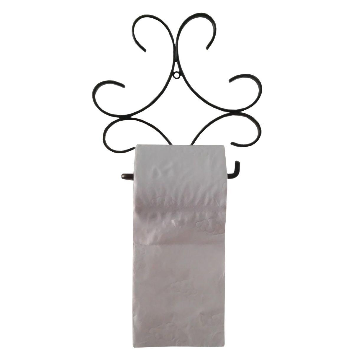 Porta Papel Higienico Artesanal De Ferro Rústico para Banheiro Rococó Verniz