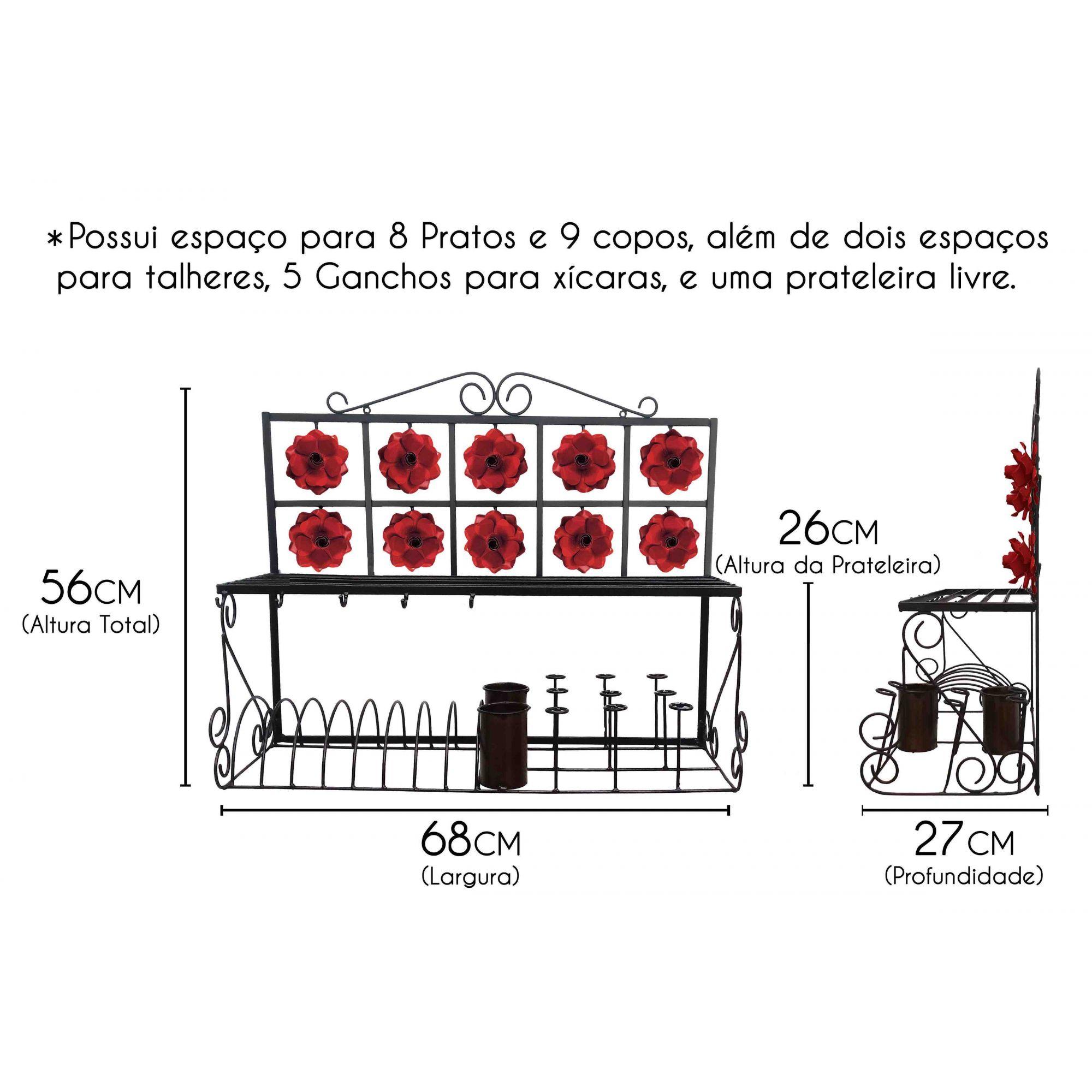 Porta Pratos e Copos Grande de Ferro Resistente para Cozinha Rustica